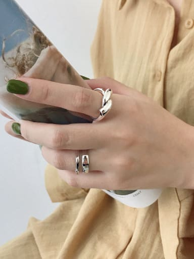 925 Sterling Silver With Platinum Plated Personality Irregular Free Size Rings
