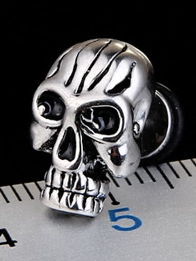 Stainless Steel With Gold Plated Personality Skull Stud Earrings