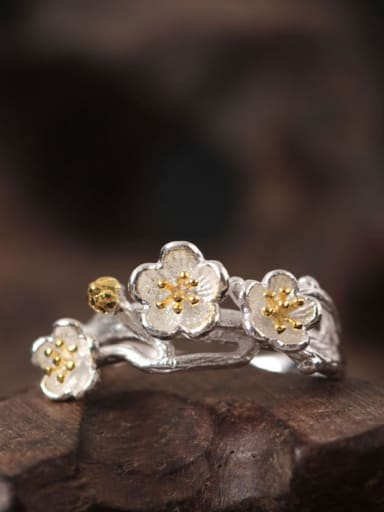 Flowers S925 Silver Adjustable Ring