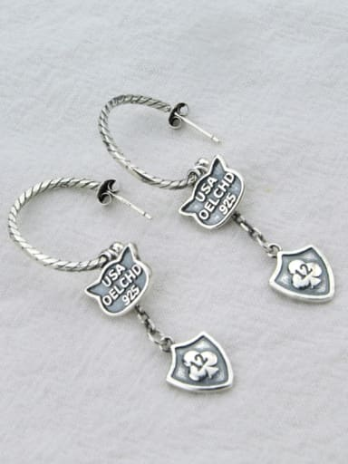 Vintage Sterling Silver With Antique Silver Plated Vintage  Smear Geometric Hook Earrings