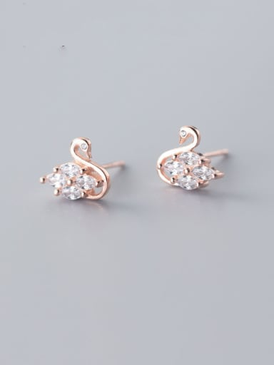 925 Sterling Silver With Rose Gold Plated Cute Swan Stud Earrings