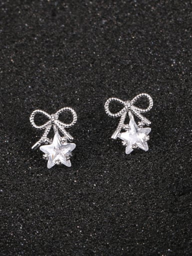 Copper With Platinum Plated Cute Bowknot  Star Stud Earrings