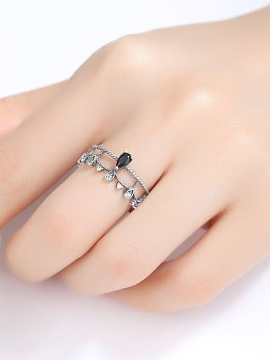 Thai Silver With Acrylic Vintage Water Drop Free Size Rings