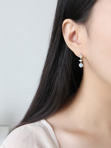 925 Sterling Silver With 18k Gold Plated opal Stud Earrings