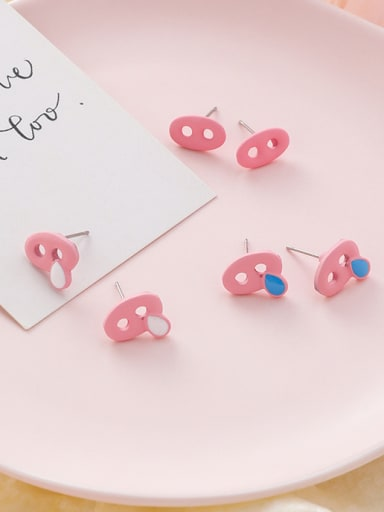 Alloy With Rose Gold Plated Cute Pig Nose Stud Earrings