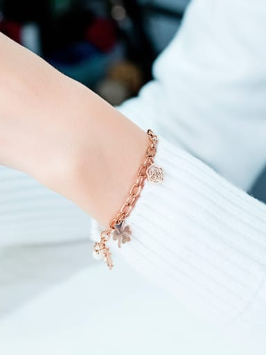 Stainless Steel With Rose Gold Plated Fashion Rosary Lucky flowers Bracelets