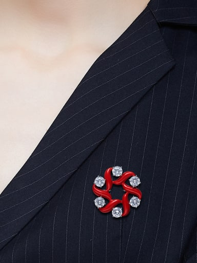 Simple Cubic Zircon Red Enamel Brooch