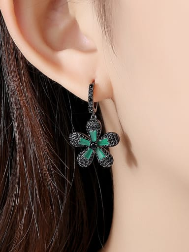 Copper With Gun Plated Vintage Flower Drop Earrings