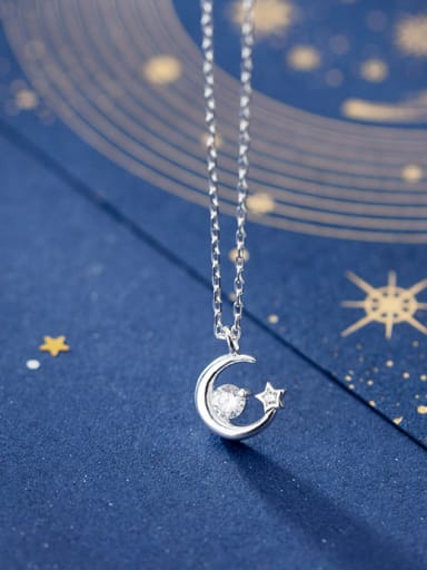 925 Sterling Silver With Silver Plated Simplistic Moon with Star Necklaces