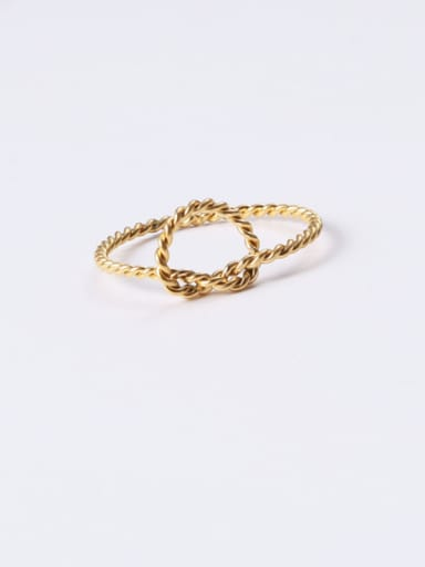 Titanium With Gold Plated Simplistic Twist Geometric Band Rings