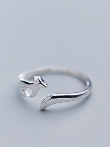 925 Sterling Silver With Silver Plated Cute Fox Free Size Rings