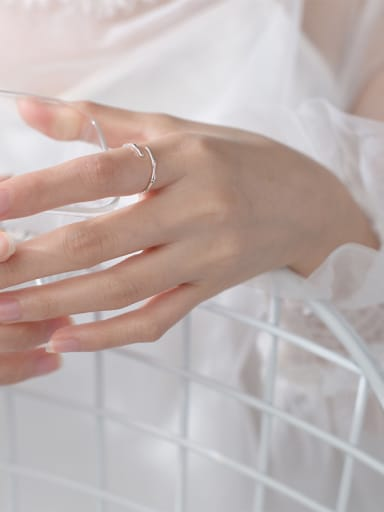 925 Sterling Silver With Silver Plated Simplistic bamboo Rings