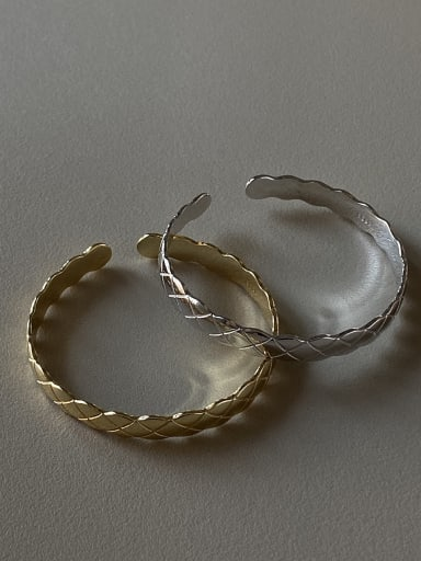925 Sterling Silver With Gold Plated Simplistic Geometric  Free Size Bangles