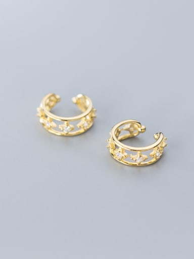 925 Sterling Silver With Gold Plated Simplistic Cross Clip On Earrings