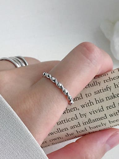 925 Sterling Silver With Glossy Vintage Twist Weaving Free Size Rings