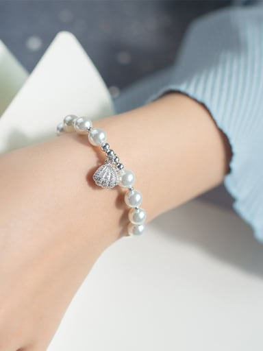Elegant Shell Shaped Artificial Pearl S925 Silver Bracelet