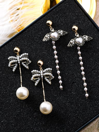 Alloy With Antique Copper Plated Vintage Bowknot Drop Earrings