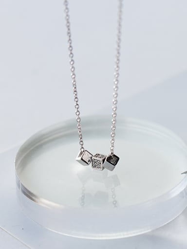 Temperament Square Shaped S925 Silver Necklace
