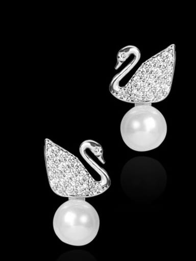 Copper With Platinum Plated Delicate Swan Stud Earrings