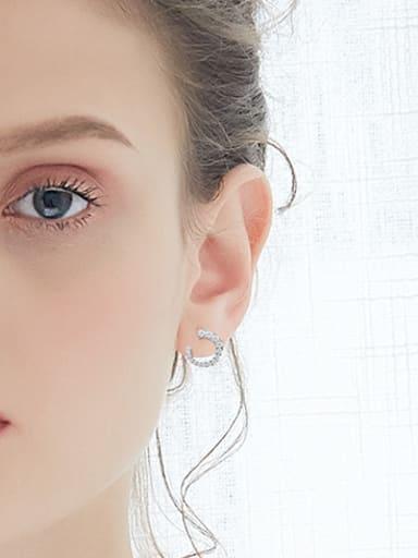 Simple U shaped Cubic Zirconias 925 Silver Stud Earrings