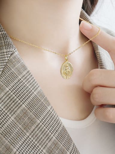 925 Sterling Silver With 18k Gold Plated Vintage Virgin Mary tag Oval Necklaces