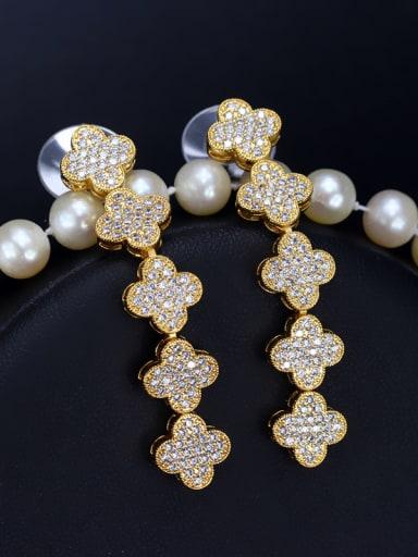 Clover-shaped Zircons Drop Cluster earring