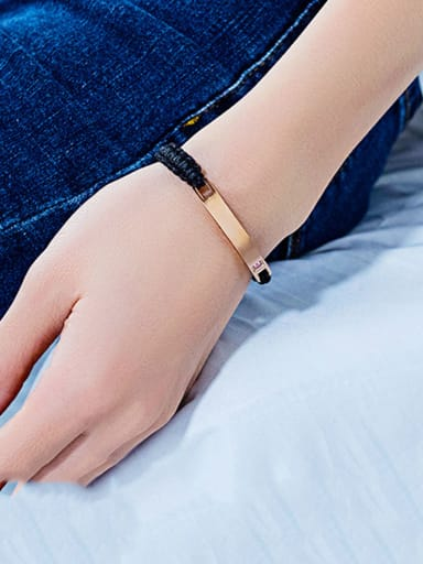 Stainless Steel With Weaving Simplistic Geometric Adjustable Bracelets