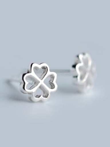 S925 Silver fashionable and Simple Leaf Stud cuff earring