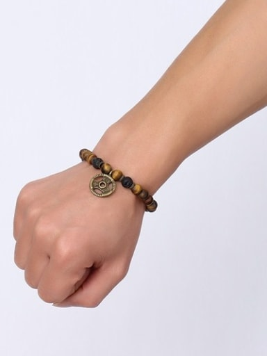 Trendy Brown Steering Wheel Shaped Stone Bracelet