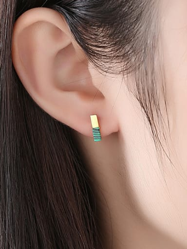 925 Sterling Silver With Turquoise Simplistic Geometric Stud Earrings