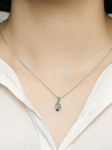 925 Sterling Silver With Cubic Zirconia Simplistic Note Necklaces