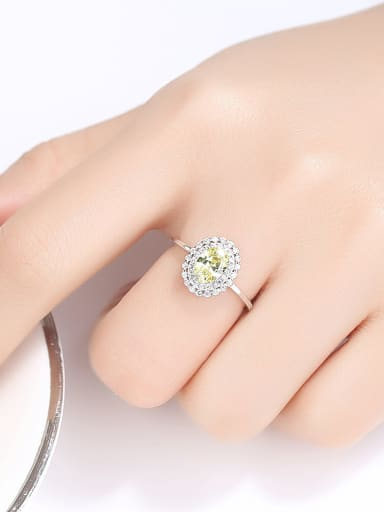 925 Sterling Silver With Cubic Zirconia  Simplistic Oval Band Rings