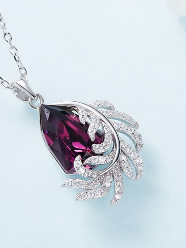 Fashion Shiny Zirconias-covered Leaf Water Drop Swarovski Crystal 925 Silver Pendant