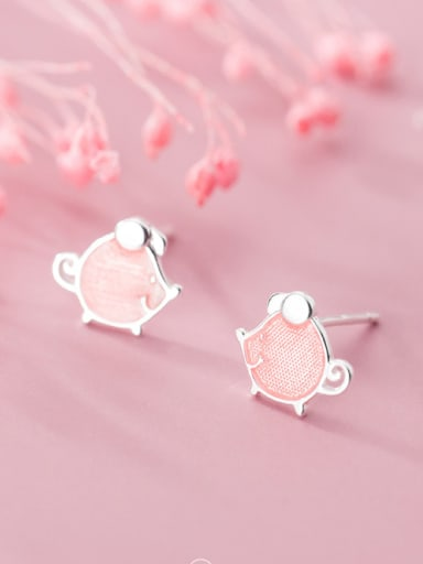 925 Sterling Silver With Platinum Plated Cute Mouse  Stud Earrings