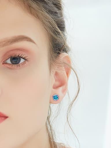 Tiny Cube Swarovski Crystal 925 Silver Stud Earrings
