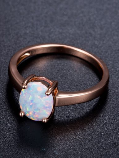 Oval Blue Stones Rose Gold Plated Ring