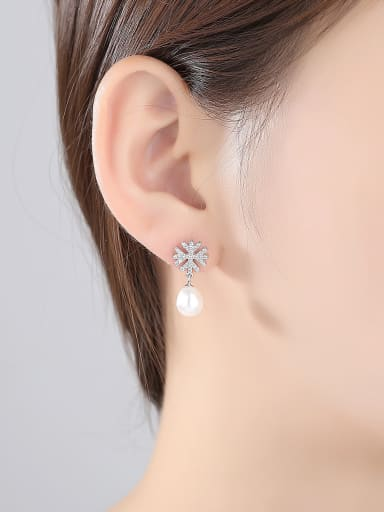 925 Sterling Silver With Platinum Plated Simplistic Snowflake Drop Earrings