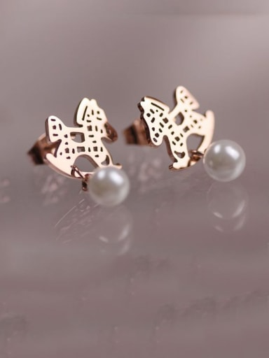 Titanium With Rose Gold Plated Cute horse Stud Earrings