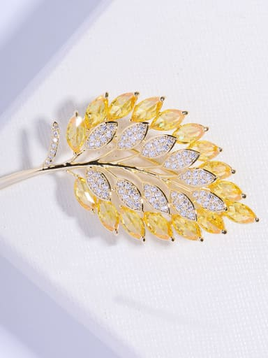 Copper With  Cubic Zirconia Fashion Leaf Brooches
