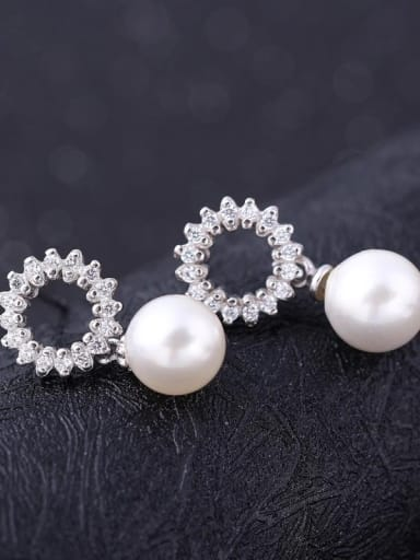 Winter Accessories Shell Pearls Zircons Drop Earrings