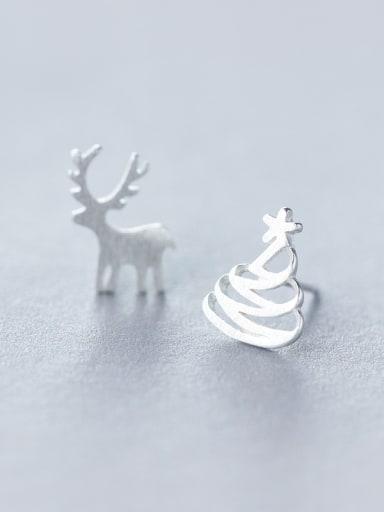 925 Sterling Silver With Platinum Plated Cute Elk Asymmetric Christmas Hat Stud Earrings