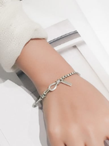 Simple Box Chain Silver Women Bracelet
