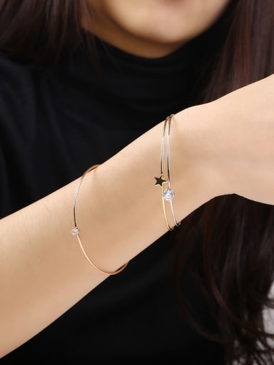 Open Design Three Layer Star Shaped Bangle