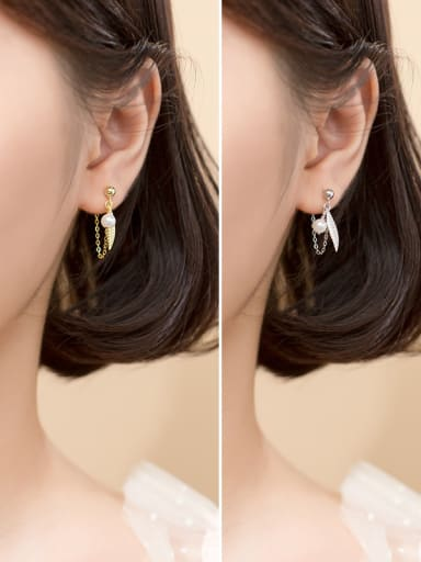 925 Sterling Silver With Gold Plated Simplistic Leaf Drop Earrings