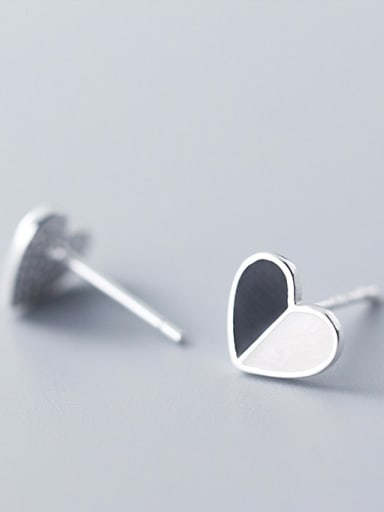 925 Sterling Silver With Silver Plated Simplistic Black and White Heart Stud Earrings