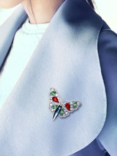 Colorful Butterfly-shaped Crystal Brooch