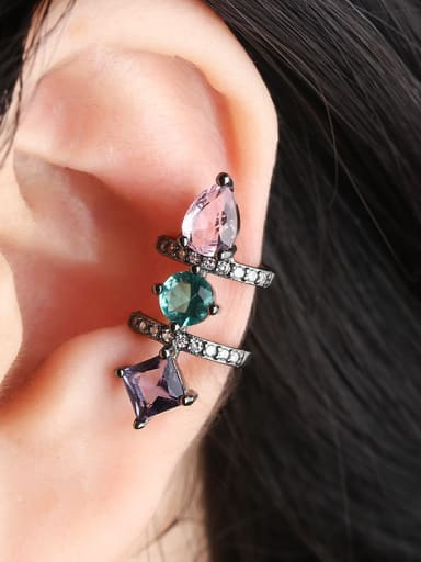 Copper With Cubic Zirconia Delicate Geometric Stud Earrings
