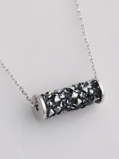 925 Sterling Silver With Rhinestone Personality Cylinder Necklaces