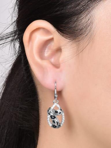 Water Drop Shaped Leopard Rhinestones Drop Earrings