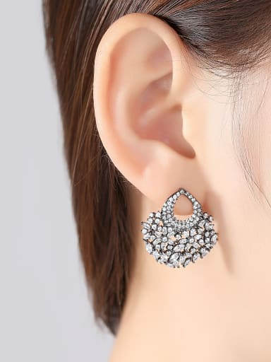 European and American fashion fan AAA zircon party Earrings Gift